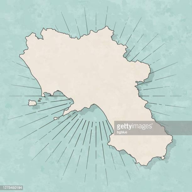 レトロなヴィンテージスタイルのカンパニアマップ - 古いテクスチャペーパー - カンパニア州点のイラスト素材/クリップアート素材/マンガ素材/アイコン素材