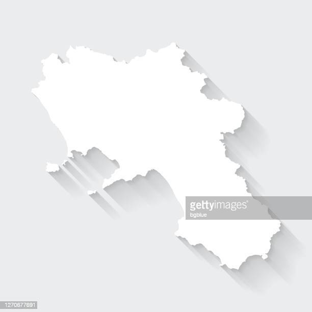 空白の背景に長い影を持つカンパニアマップ - フラットデザイン - カンパニア州点のイラスト素材/クリップアート素材/マンガ素材/アイコン素材