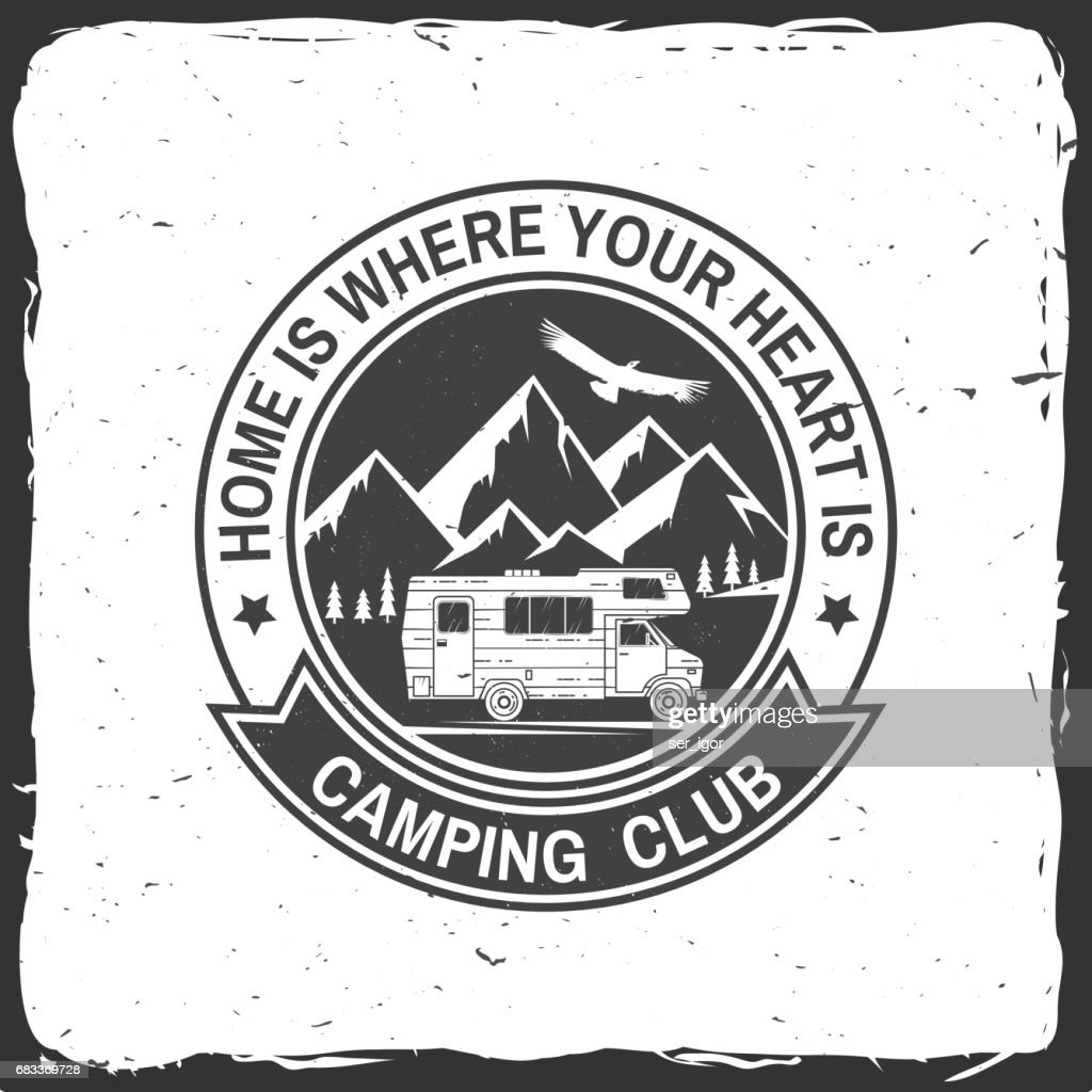Camper and caravaning club. Vector illustration