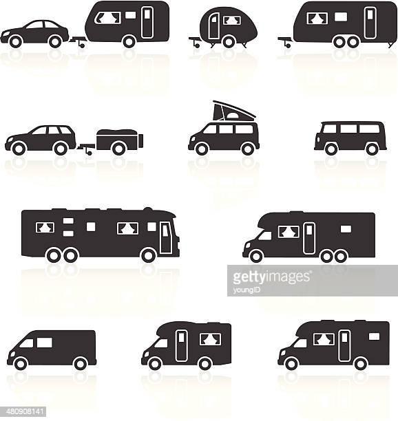 illustrations, cliparts, dessins animés et icônes de caravane et en camping-car, caravane & icônes de camping-cars - camping car