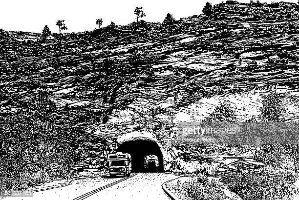 camper driving through zion national park tunnel, utah - natural arch stock illustrations, clip art, cartoons, & icons