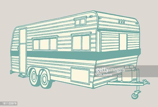 illustrations, cliparts, dessins animés et icônes de camper bande-annonce - camping car
