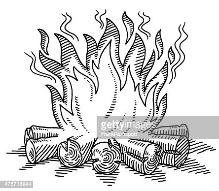 Campfire Drawing Vector Art