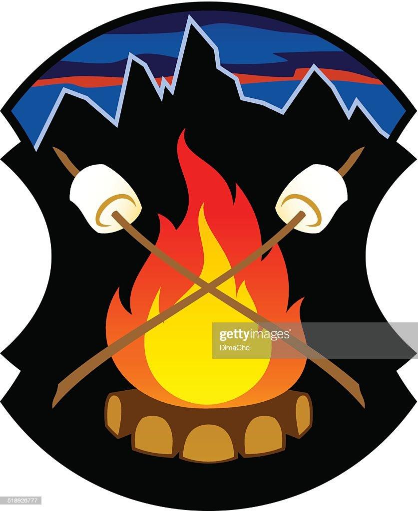 campfire emblem : stock illustration