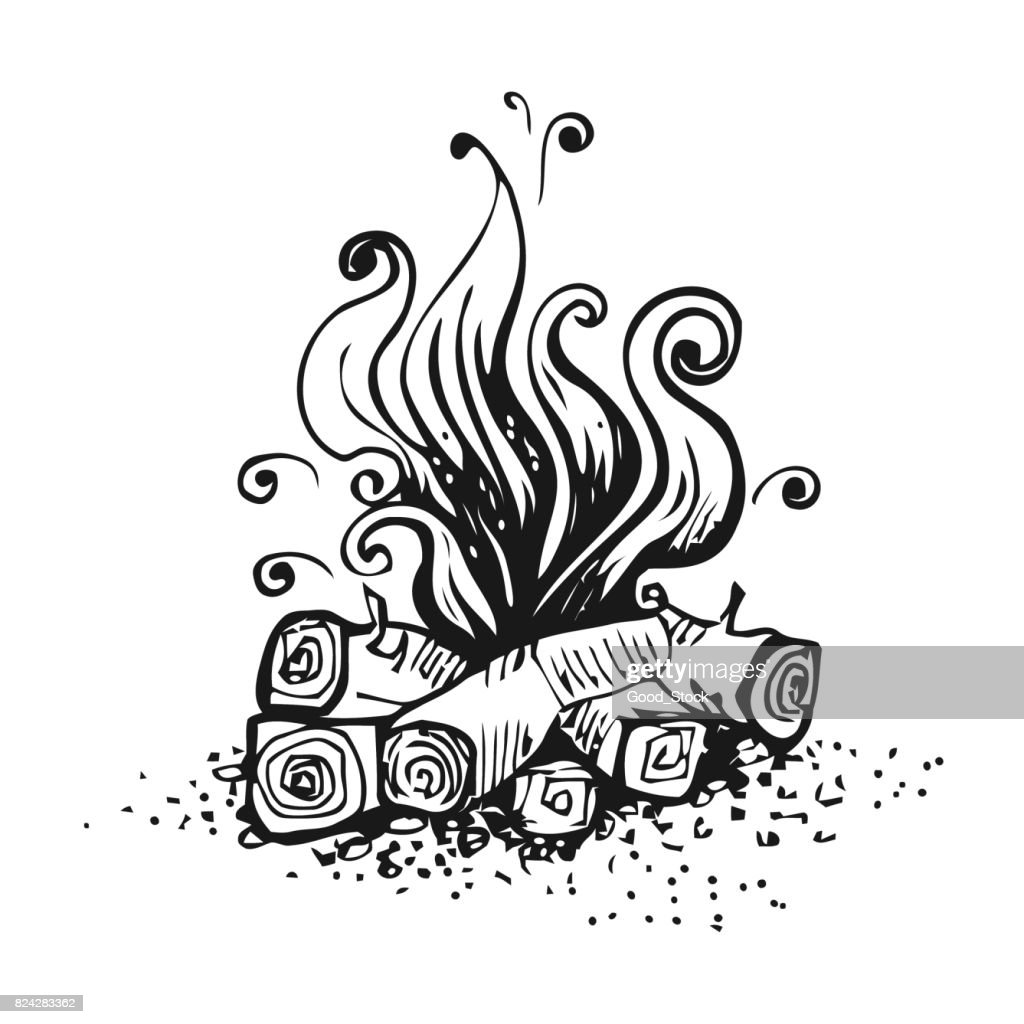 Campfire, fire over wood logs. Black and white graphic vector illustration, isolated on white.