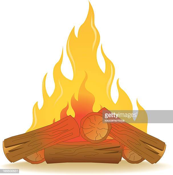 campfire - fire natural phenomenon stock illustrations, clip art, cartoons, & icons