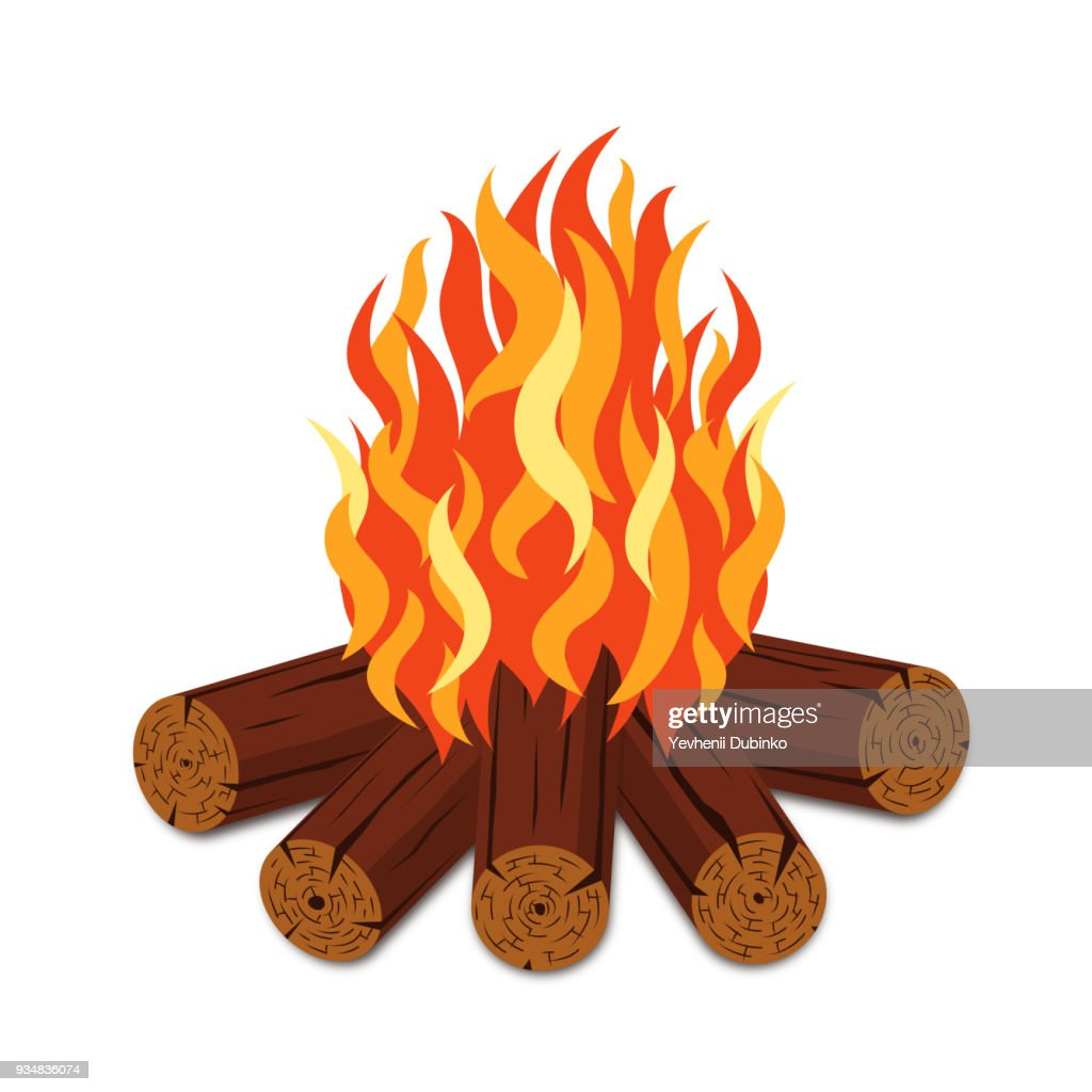 Campfire with firewood and flame torch in cartoon style. Bonfire with woodpile isolated on white background