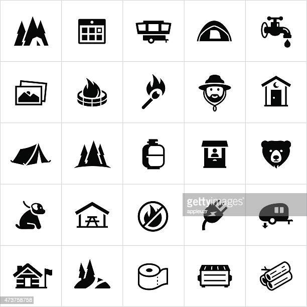 campground icons - tent stock illustrations, clip art, cartoons, & icons