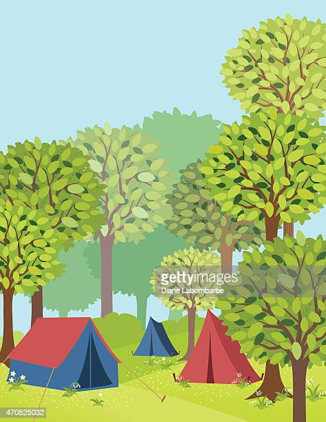 campground in the forest with tents - tent stock illustrations, clip art, cartoons, & icons