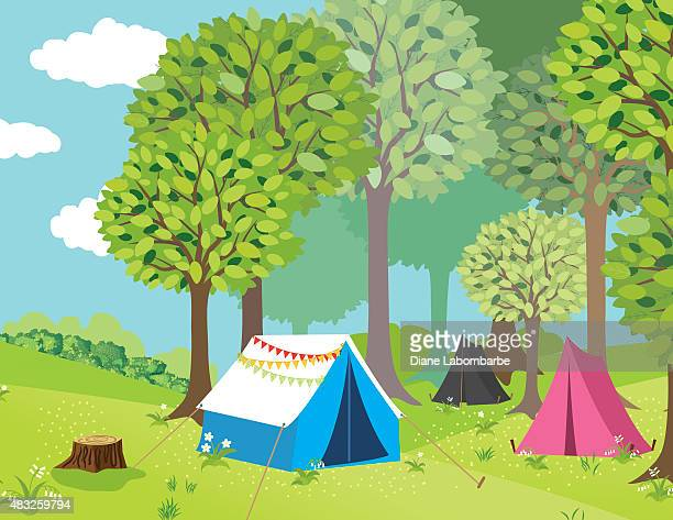 campground in the woods - tent stock illustrations, clip art, cartoons, & icons
