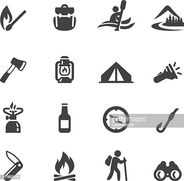 camping advanture silhouette icons - outdoors stock illustrations, clip art, cartoons, & icons