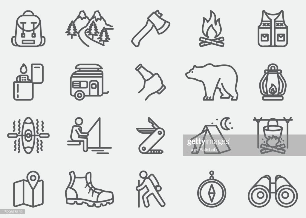 Camping Adventure Line Icons : stock illustration