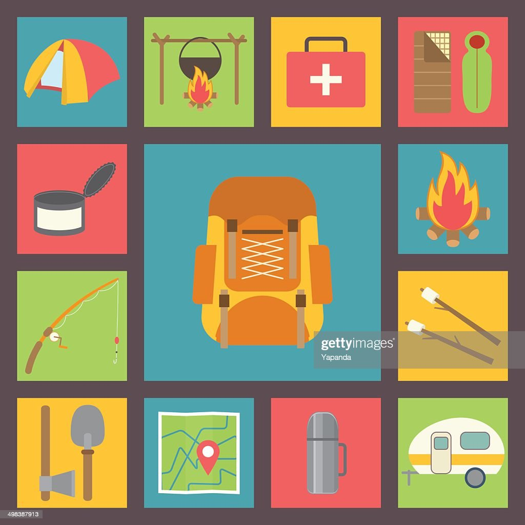 Camping and hiking vector icons.