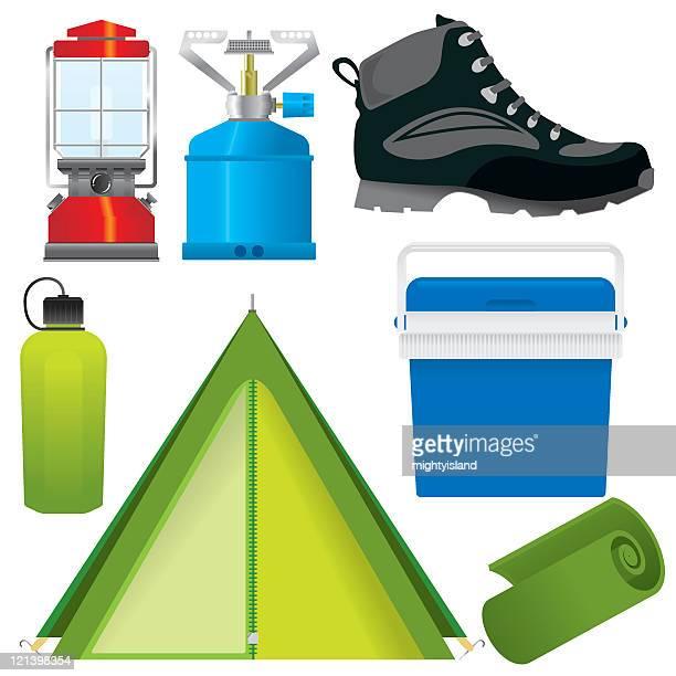 キャンプやハイキング - ガス燈点のイラスト素材/クリップアート素材/マンガ素材/アイコン素材