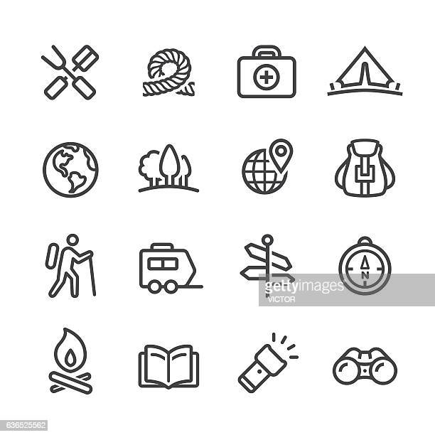 camping and outdoor icon - line series - tent stock illustrations, clip art, cartoons, & icons