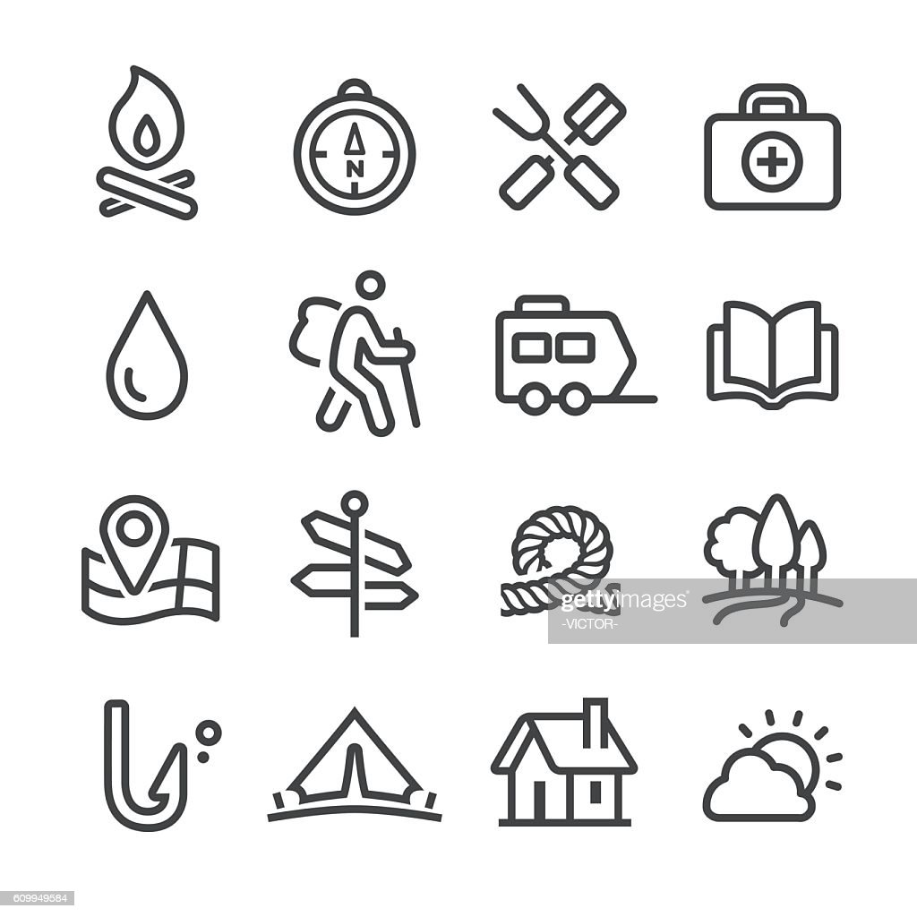 Camping and Outdoor Icons - Line Series : Stock-Illustration