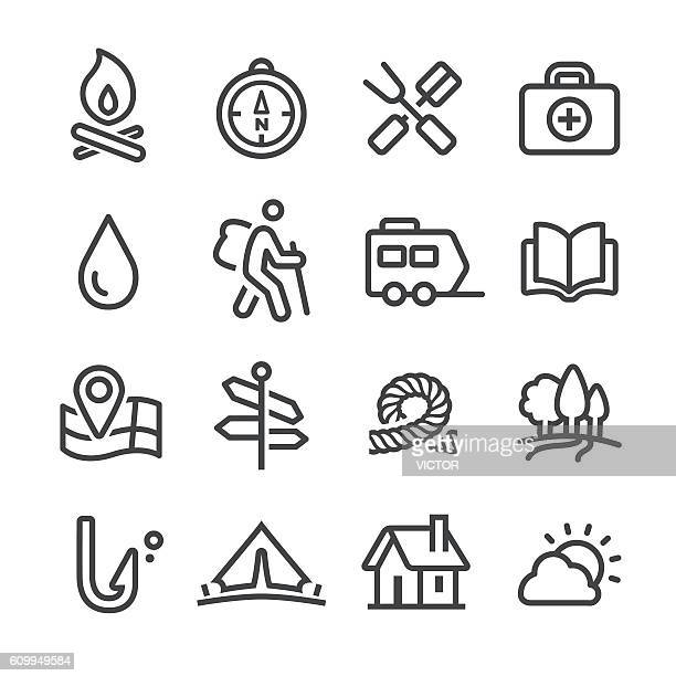 camping and outdoor icons - line series - exploration stock illustrations