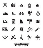 Camping and Outdoor Pursuits Icon Set