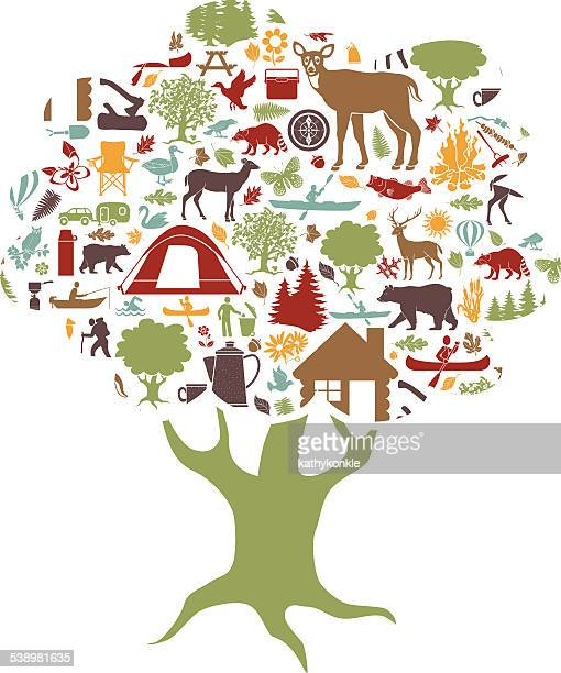 camping and outdoor recreation colored icons tree shaped - motorboating stock illustrations, clip art, cartoons, & icons