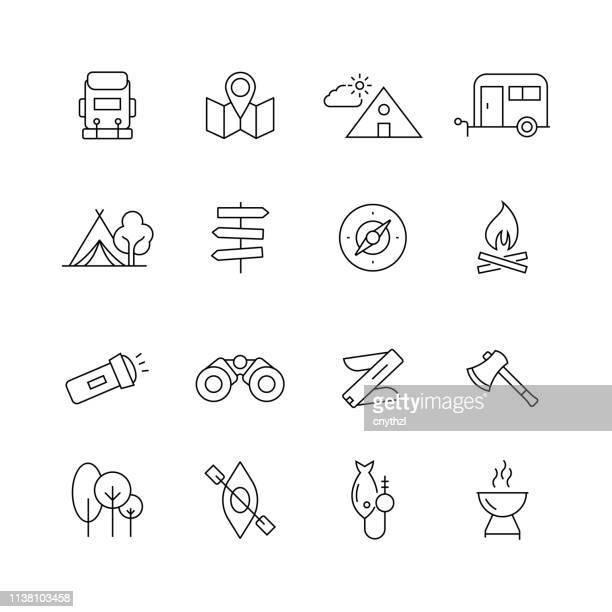 camping und outdoor related-set of thin line vector icons - erforschung stock-grafiken, -clipart, -cartoons und -symbole
