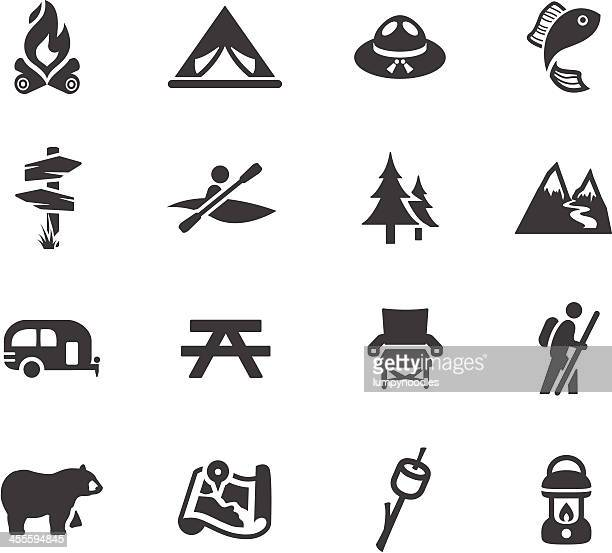 camping and outdoors symbols - tent stock illustrations, clip art, cartoons, & icons