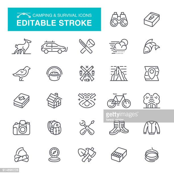 Camping and Survival Icons Editable Stroke