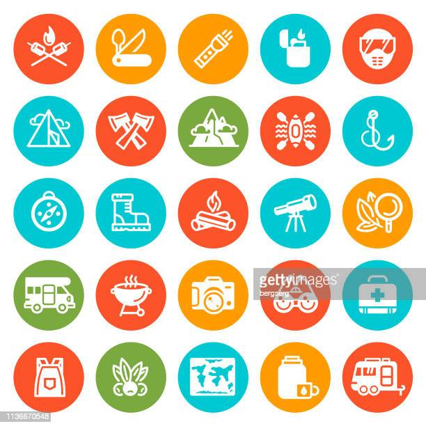 camping and survival round icons - survival stock illustrations