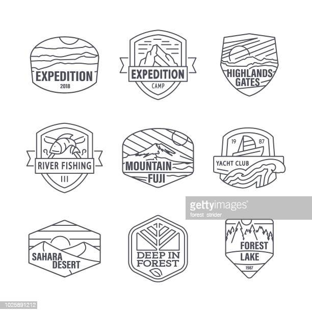 camping and travel editable line icons - badge stock illustrations