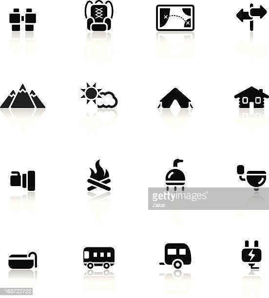 camping and travel icon set 2/3 | simple collection - bungalow stock illustrations, clip art, cartoons, & icons