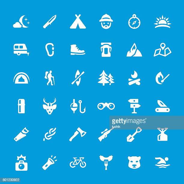 Camping and Traveling vector icons set