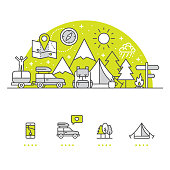 Camping banner and icons