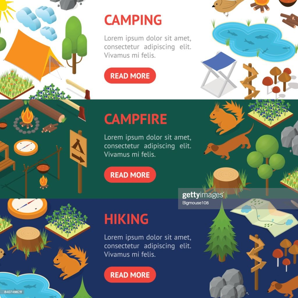 Camping Banner Horizontal Set Isometric View. Vector