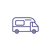 Camping car line icon