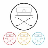 camping chair line icon