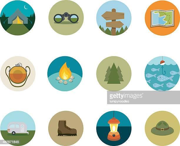 camping kreis symbole - wegweiser stock-grafiken, -clipart, -cartoons und -symbole
