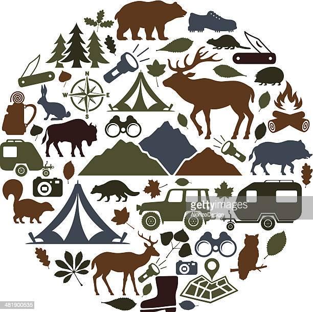 キャンプカレッジ - 狩りをする点のイラスト素材/クリップアート素材/マンガ素材/アイコン素材