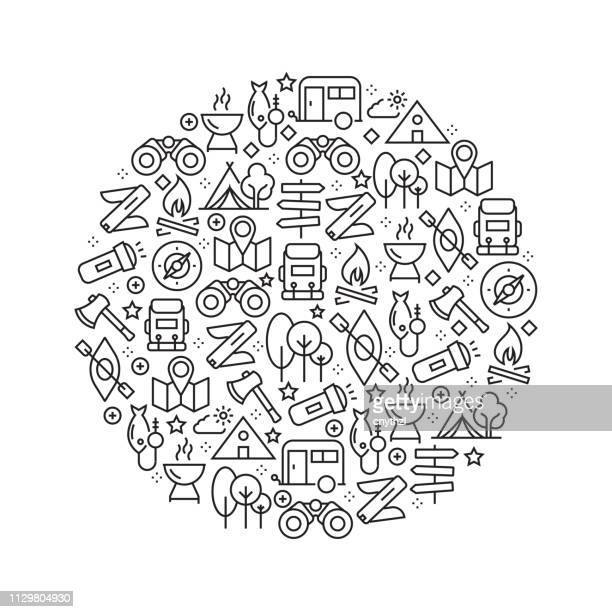 camping concept - black and white line icons, arranged in circle - outdoors stock illustrations, clip art, cartoons, & icons