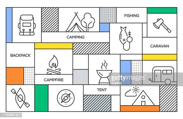 キャンピングコンセプト。幾何学的なレトロスタイルのバナーとキャンプラインのアイコンとポスターの概念 - 冒険点のイラスト素材/クリップアート素材/マンガ素材/アイコン素材