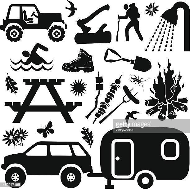 camping design elements - 4x4 stock illustrations, clip art, cartoons, & icons