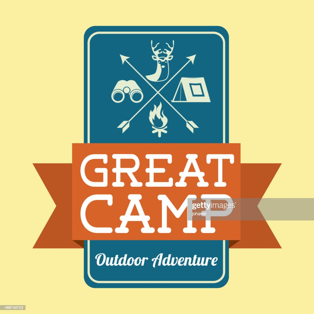 Camping design graphic with yellow and blue