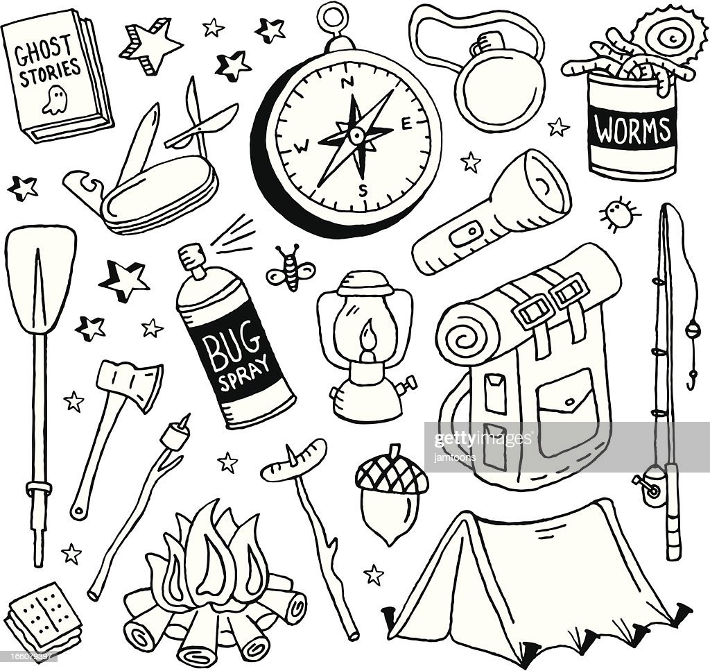 Camping Doodles : stock illustration
