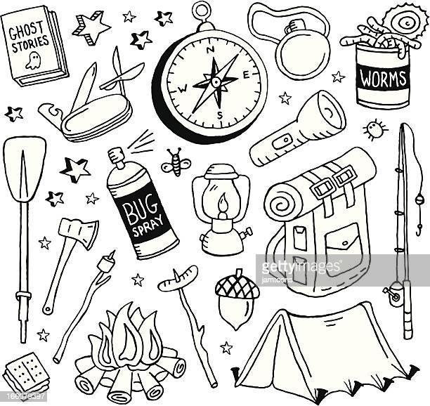 camping doodles - flashlight stock illustrations