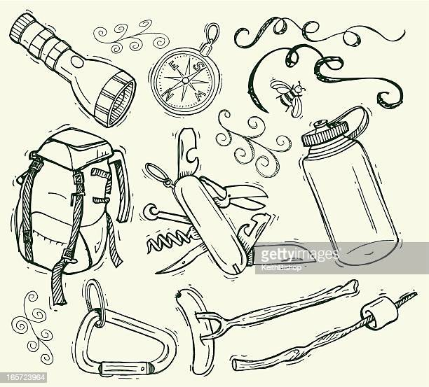 camping doodles with backpack and compass - water bottle stock illustrations, clip art, cartoons, & icons