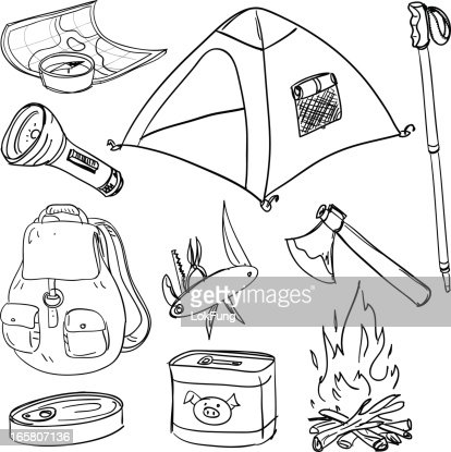 Camping Equipment In Black And White Vector Art