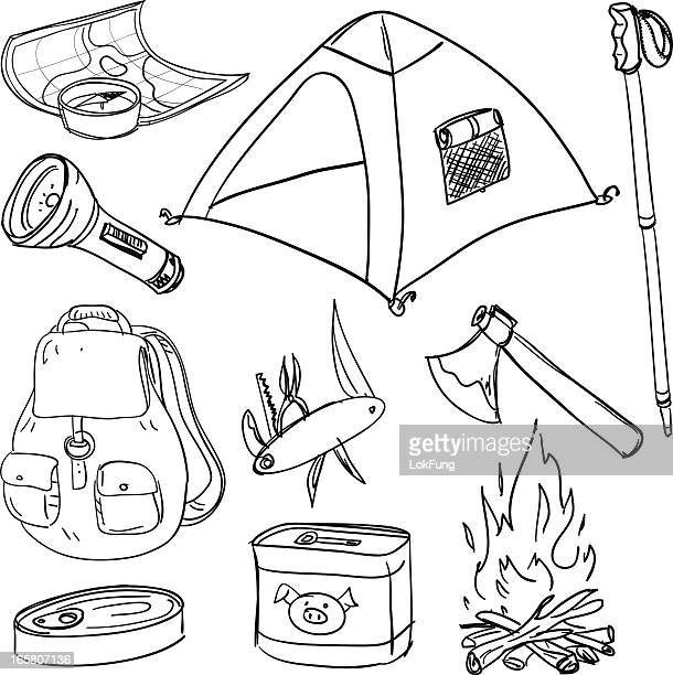 camping equipment in black and white - tent stock illustrations, clip art, cartoons, & icons