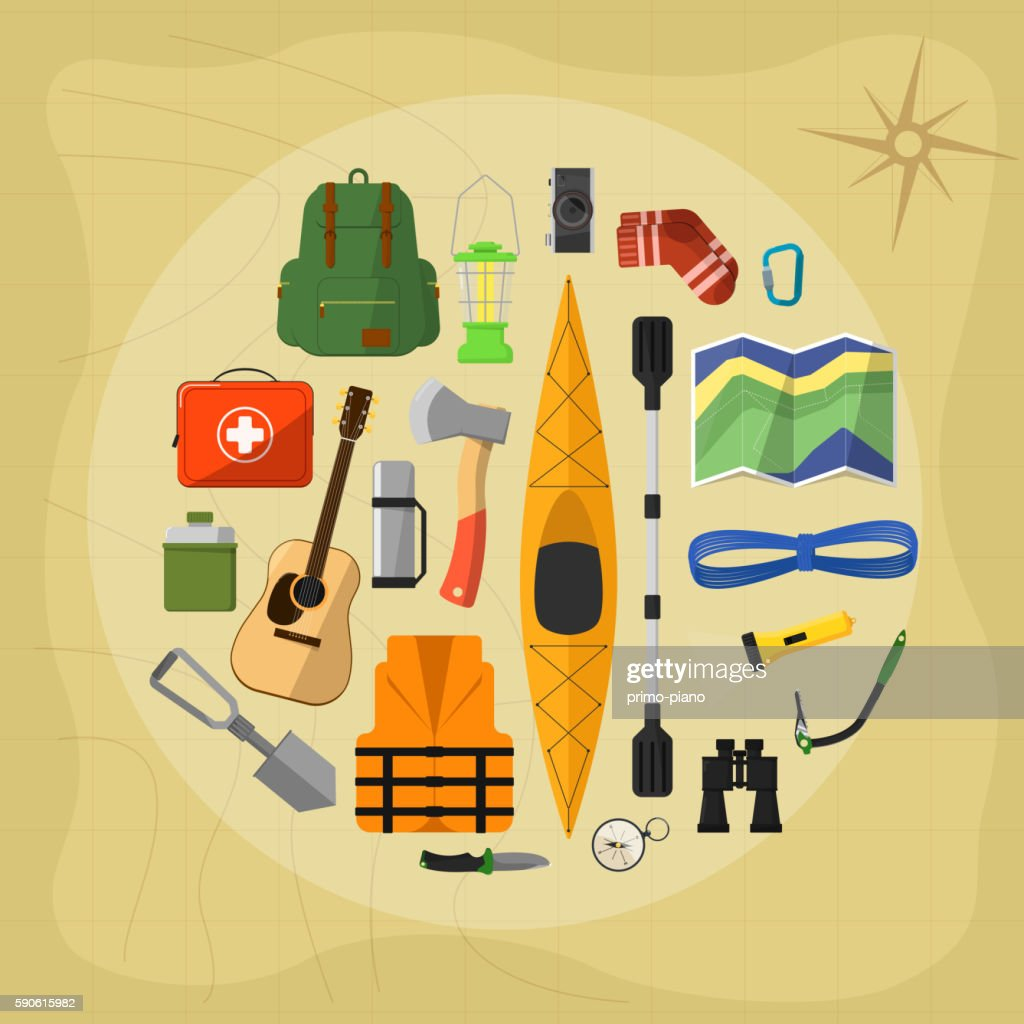 Camping equipment symbols and icons