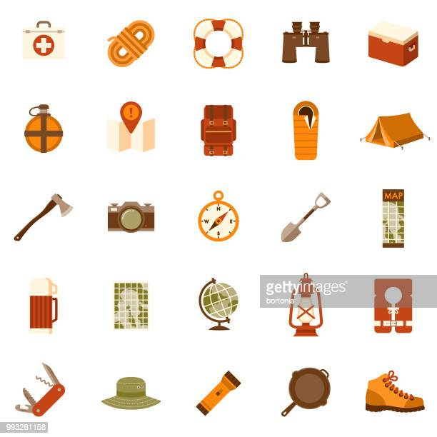 illustrations, cliparts, dessins animés et icônes de camping design plat icon set - accessoire