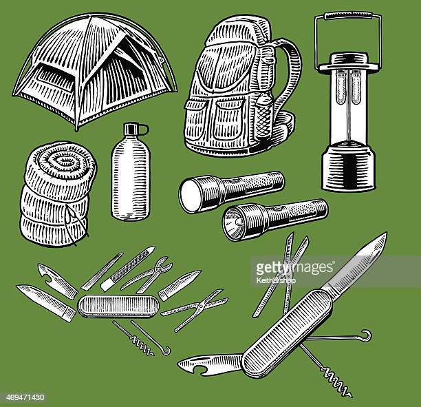 Camping Gear and Tools, Back Pack, Compass, Sleeping Bag