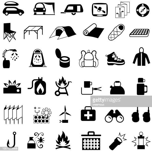 Camping Hiking and Picnic Equipment Icons