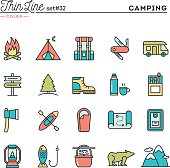 Camping, hiking, wilderness, adventure and more, thin line color icons